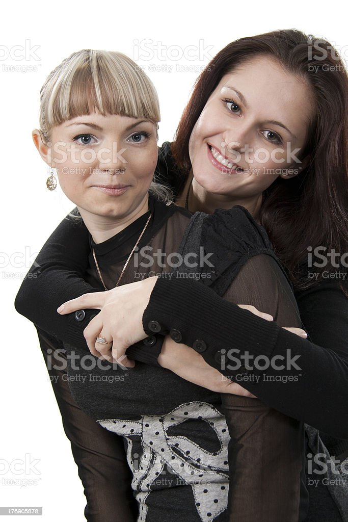 two young friend girl happiness on white royalty-free stock photo
