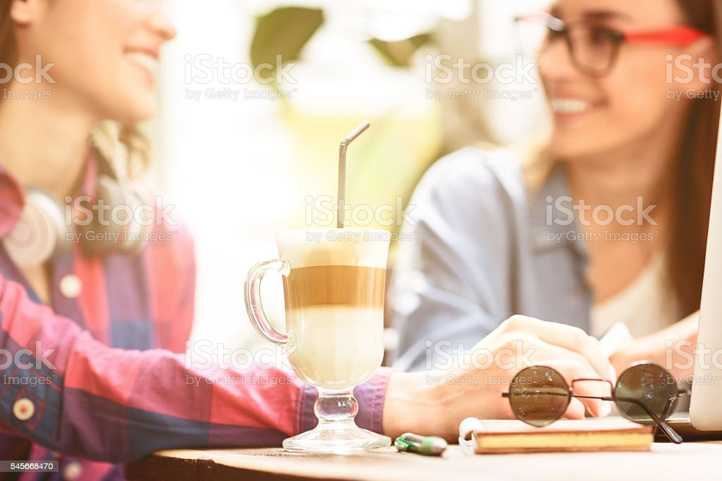 Two young friends enjoying day together stock photo