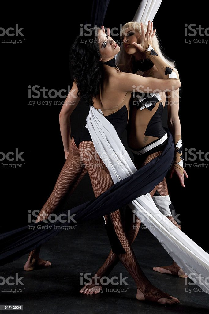 Two young girl shows her performance. stock photo