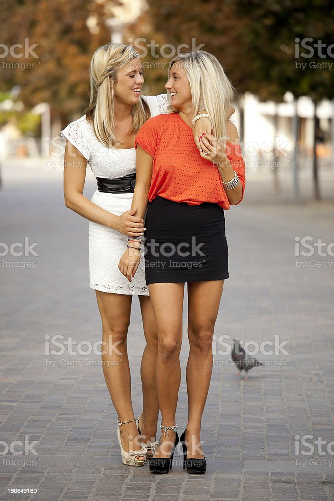 Two young girlfriends royalty-free stock photo