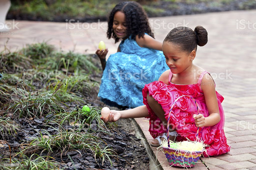 Two Young Girls at Easter stock photo