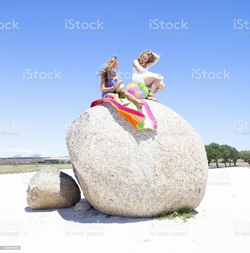 Two young girls relaxing on summer day in South Africa stock photo