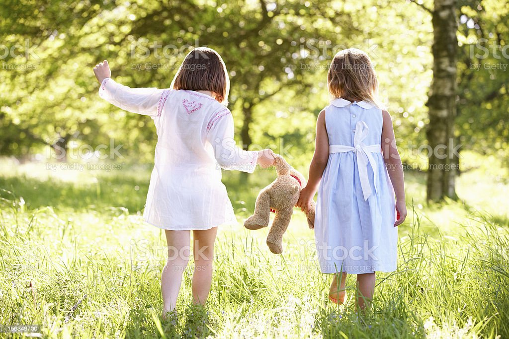 Two Young Girls Walking Through Summer Field Carrying Teddy Bear royalty-free stock photo