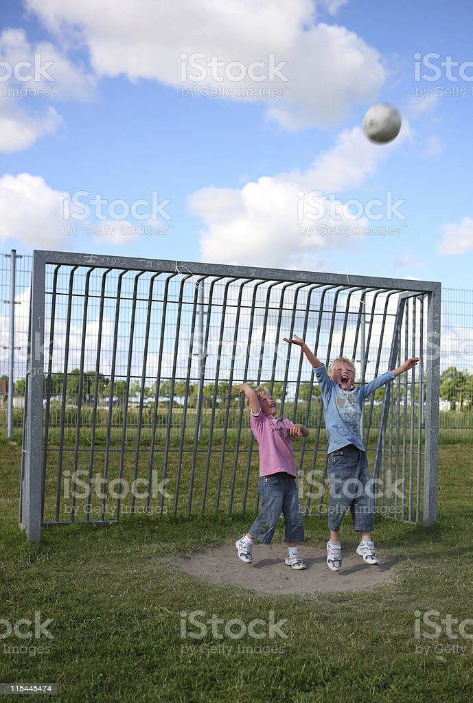 Two Young Goalies royalty-free stock photo