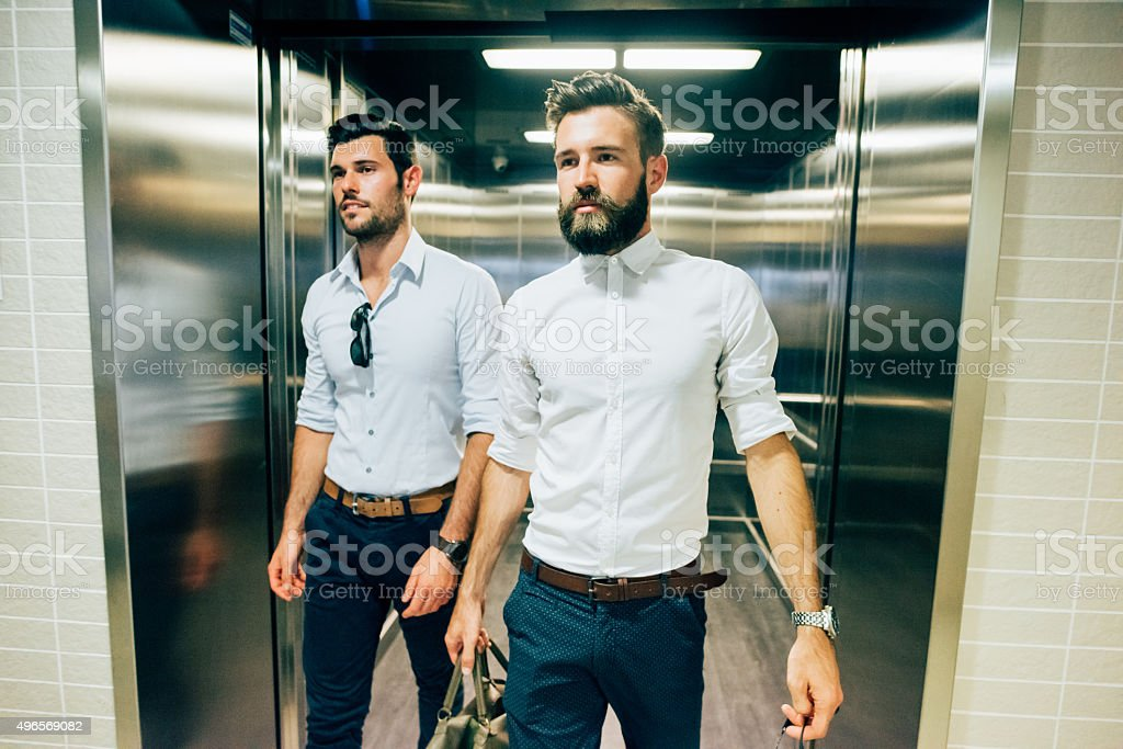 two young handsome businessman stock photo