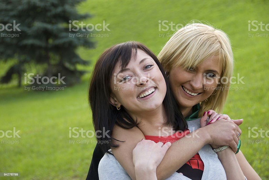 Two young happy girls royalty-free stock photo