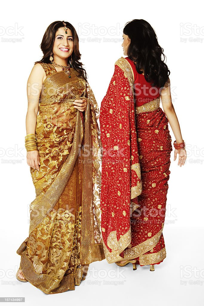 Two young Indian women posing, showing sari's front and back royalty-free stock photo