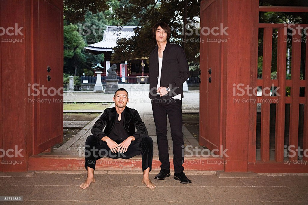Two young japanese men royalty-free stock photo
