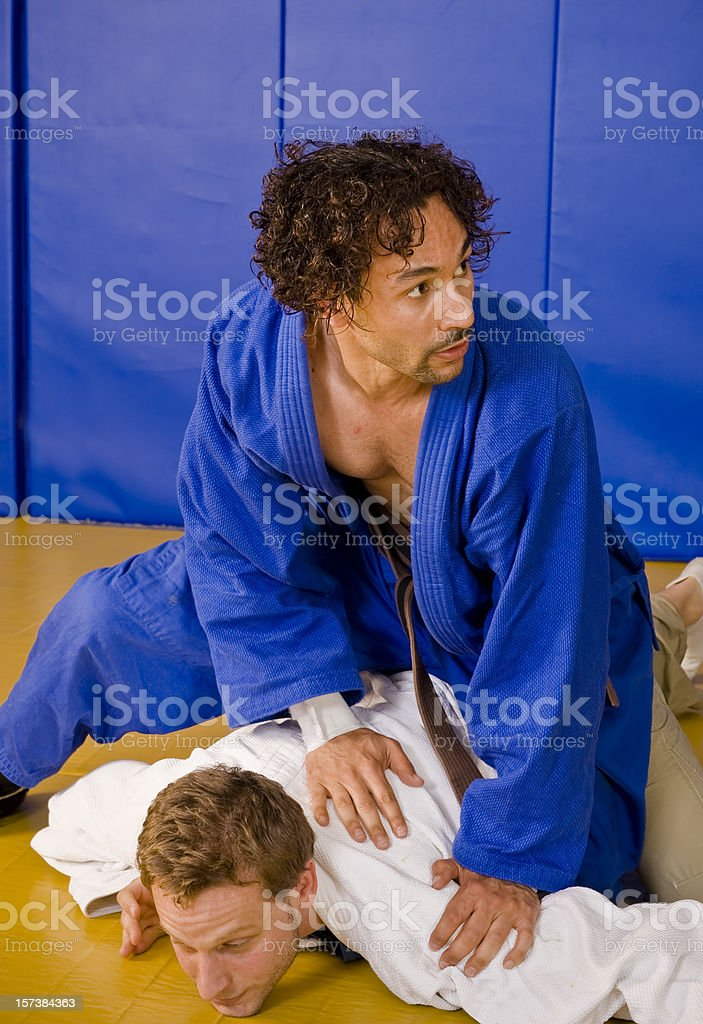 Two Young Martial Arts Athletes During Exercise stock photo