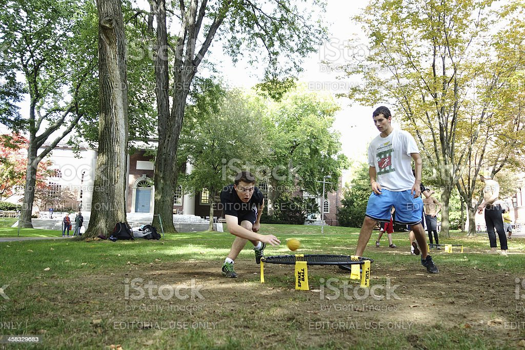 Two young men playing spike ball outdoor stock photo