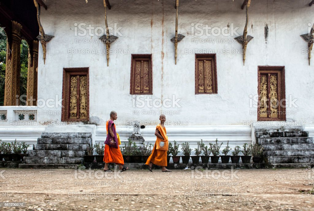 Two young monks are walking in the monastery courtyard, Luang Prabang, Laos stock photo