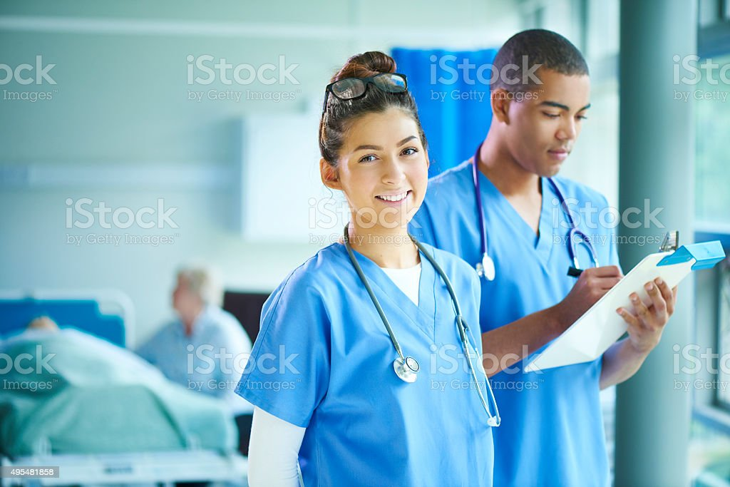 two young nurses on the ward stock photo