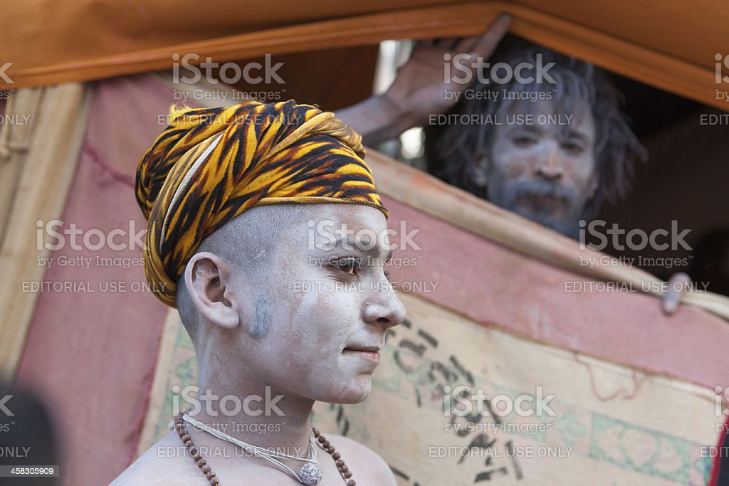 Two young Sadhus in shelter camp at Kumbh Mela stock photo