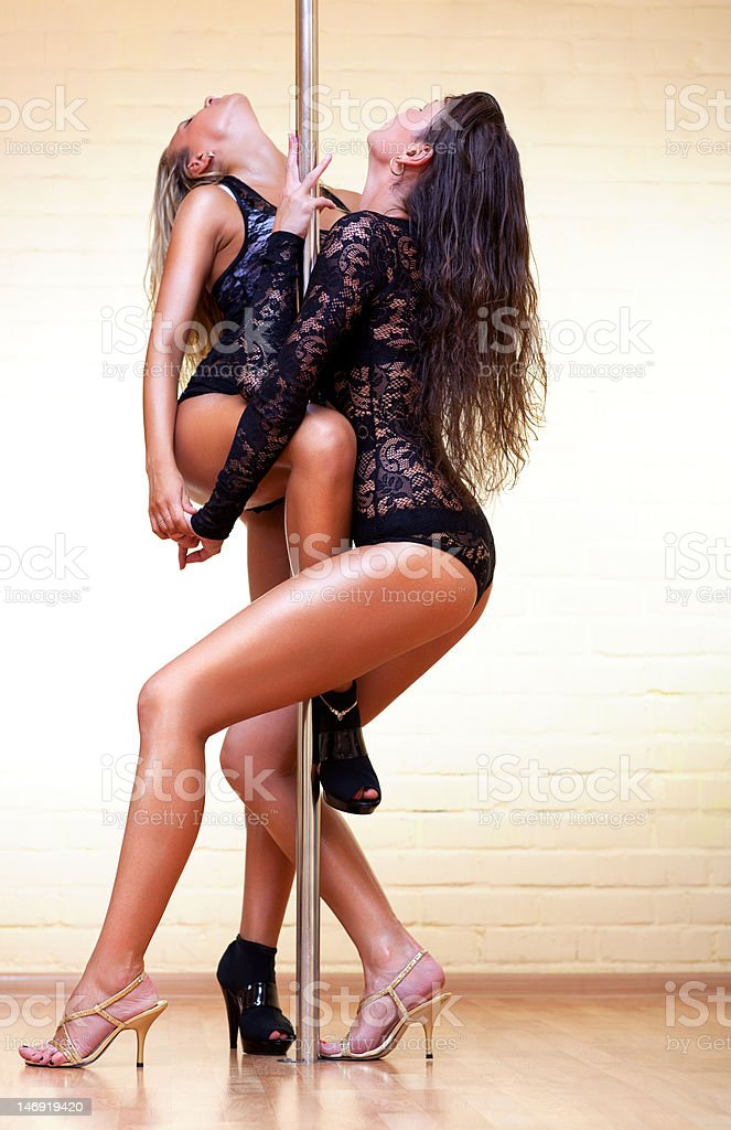 Two young sexy women stock photo