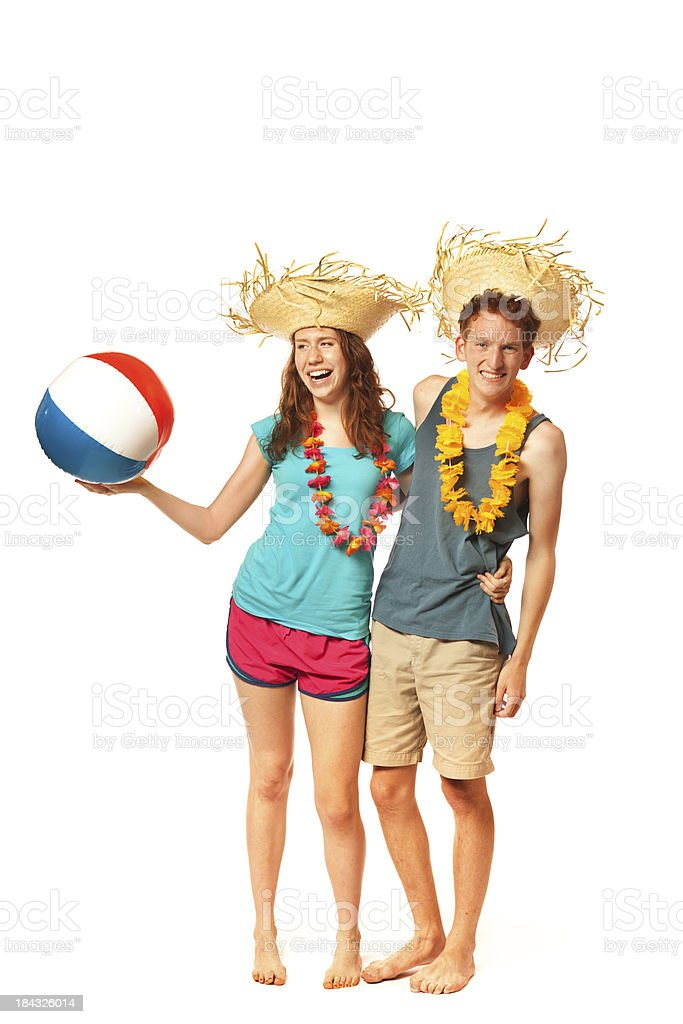 Two Young Spring Breaker Vacation Couple Isolated on White Background royalty-free stock photo