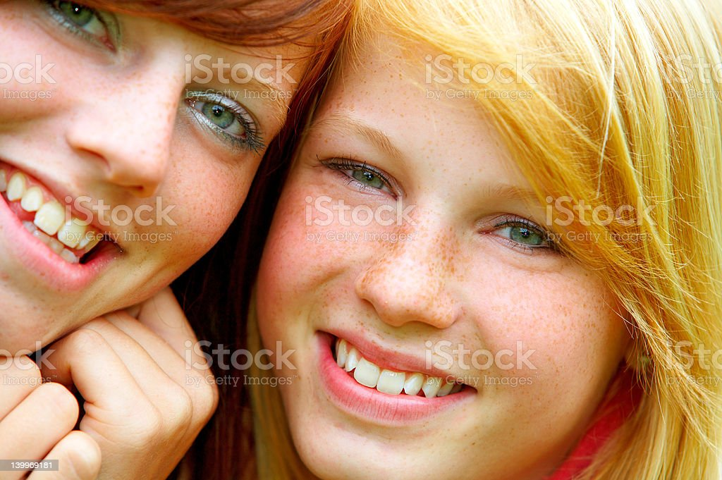 Two young teens. Close-up royalty-free stock photo