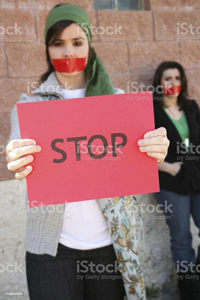 Two Young Women A Part Of  Group Cause royalty-free stock photo