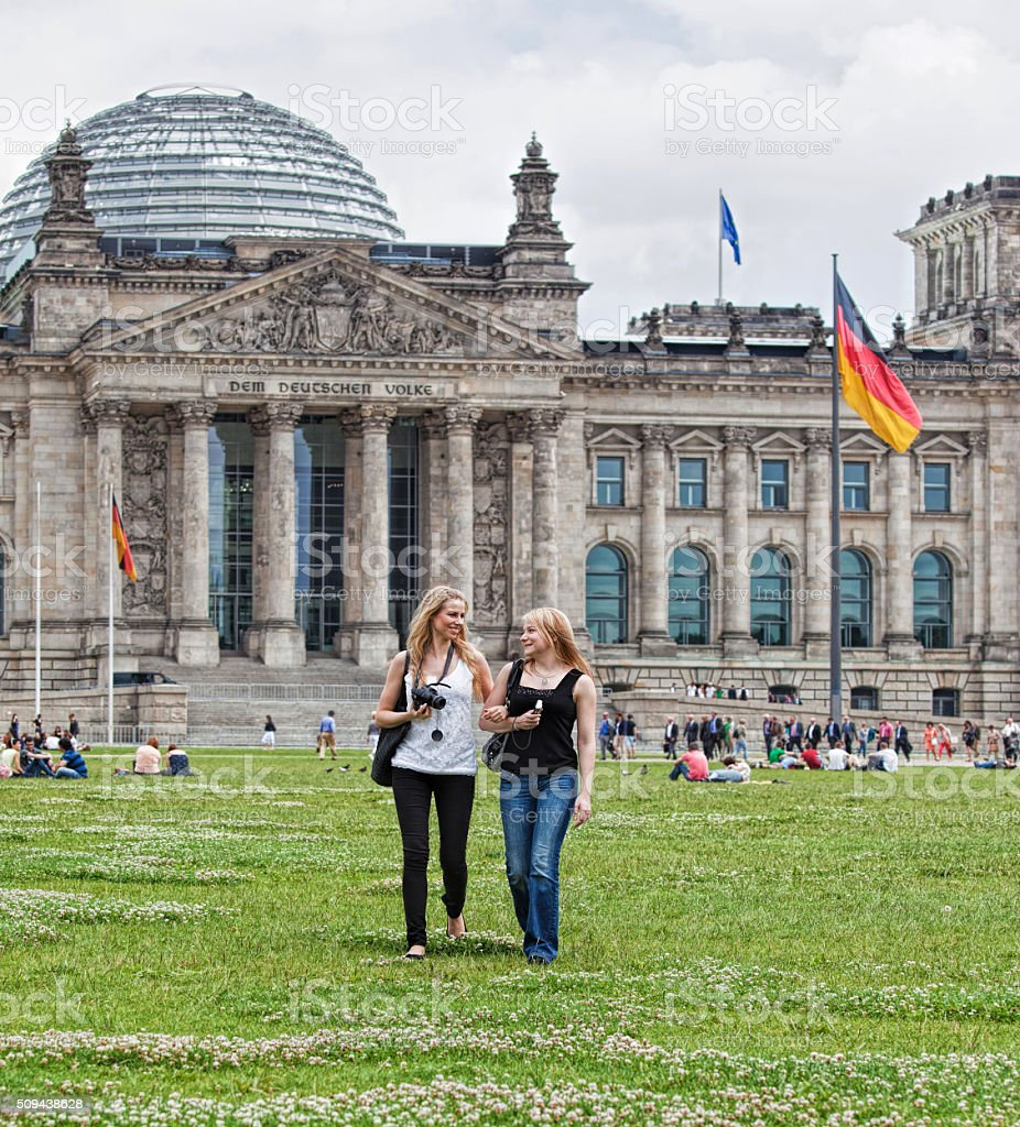 Two young women at The Reichstag in Berlin stock photo