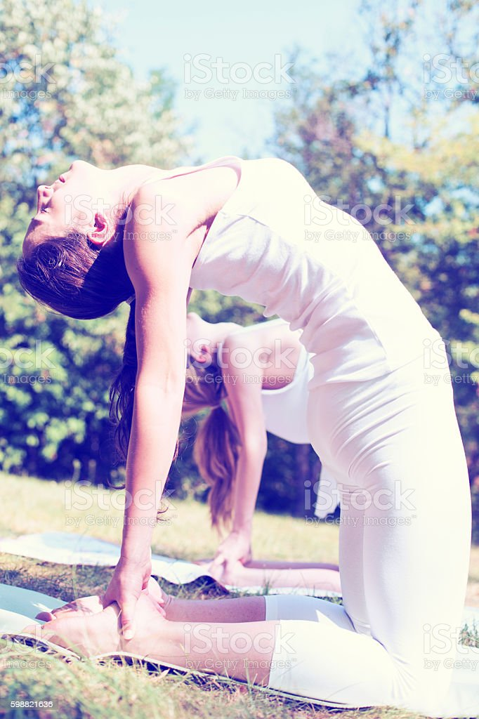Two young women doing yoga class in nature. stock photo