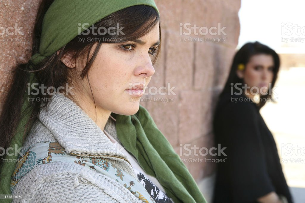 Two Young Women Having A Quarrel royalty-free stock photo