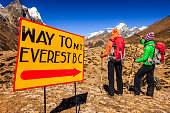 Two young women on the way to Everest Base Camp