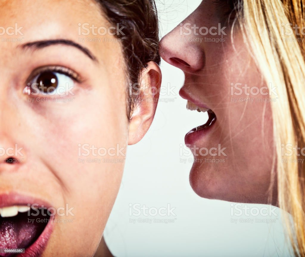 Two young women, one whispering, the other listening. Gossip. Scandal! stock photo