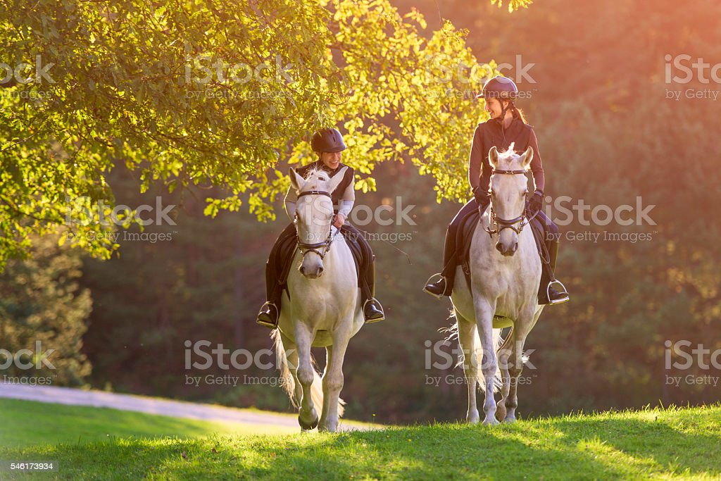 Two young women riding horses in nature stock photo
