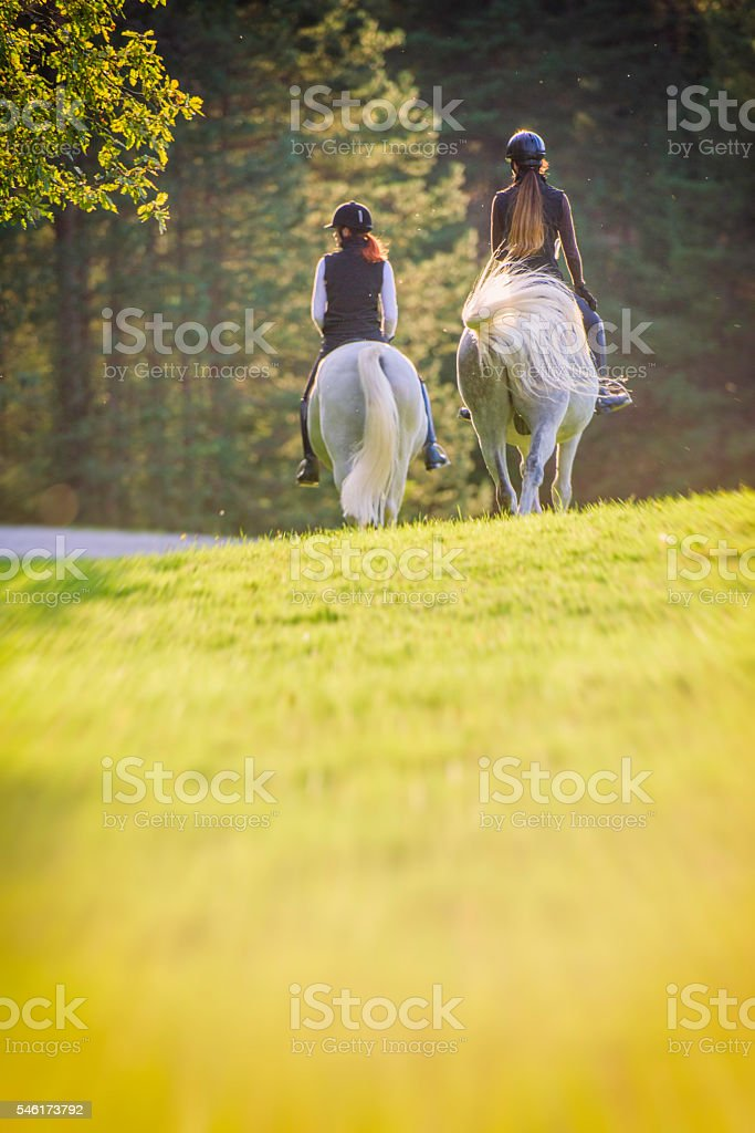 Two young women riding horses stock photo