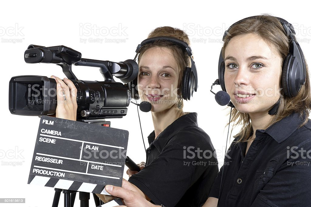 two young women with  video cameras stock photo