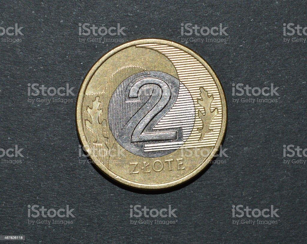 Moneda de dos zloty polaco dinero pln foto de stock libre de derechos