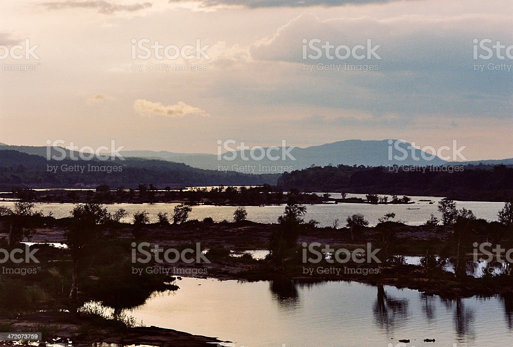 Two-Coloured River at Khong Chiam stock photo