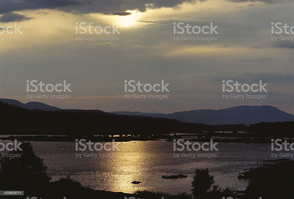 Two-Coloured River in Early Morning at Khong Chiam stock photo