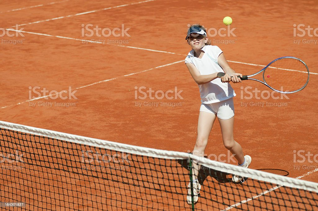 Two-handed backhand volley royalty-free stock photo