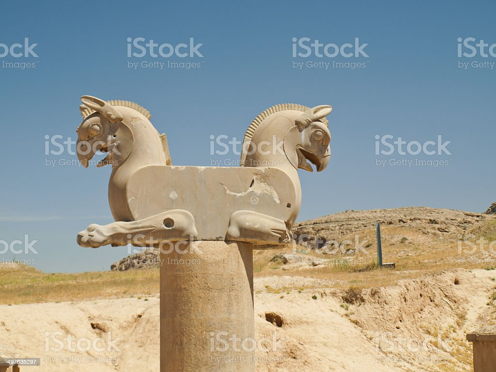 Two-headed Griffin statue in Persepolis in Shiraz, Iran stock photo