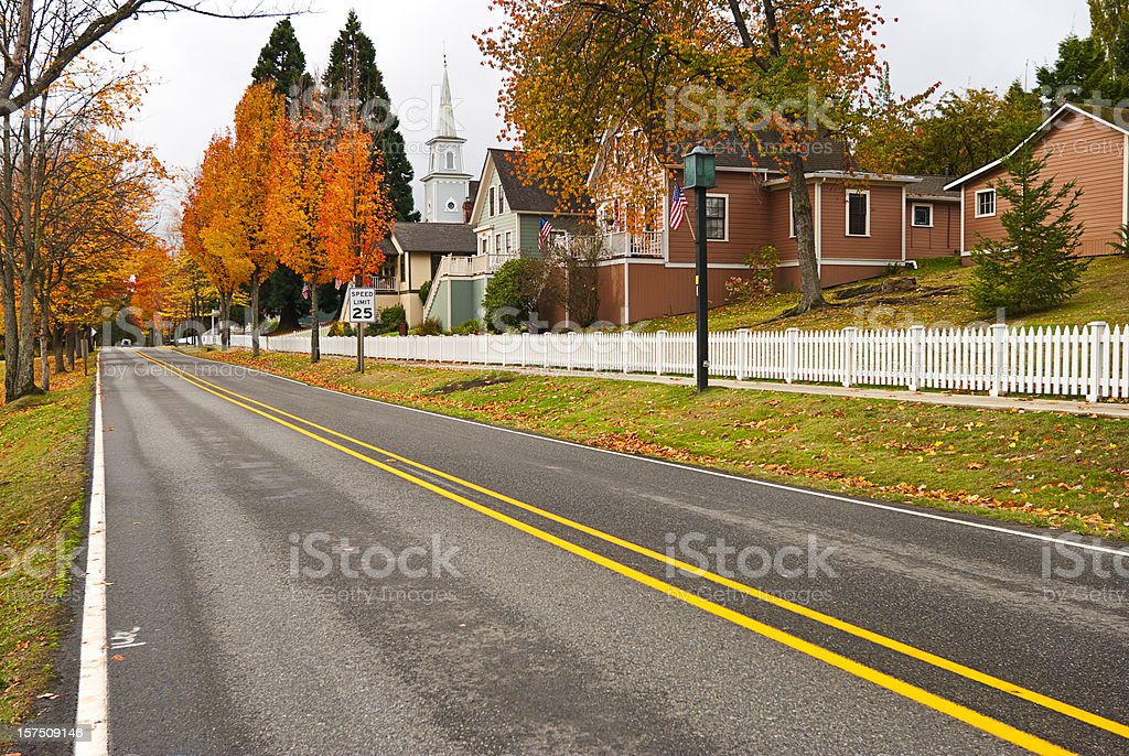 Two-lane highway through small American town royalty-free stock photo