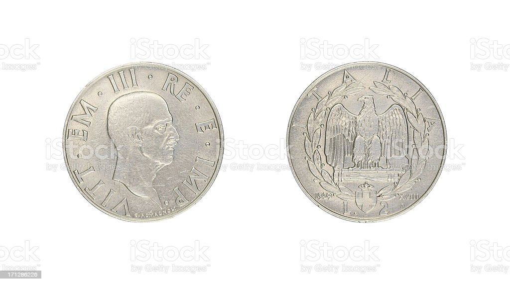 Two-Lire-Coin, Italy, 1939 royalty-free stock photo