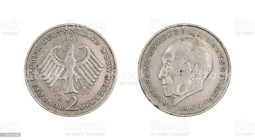 'Two-Mark-Coin, Germany, 1975' stock photo