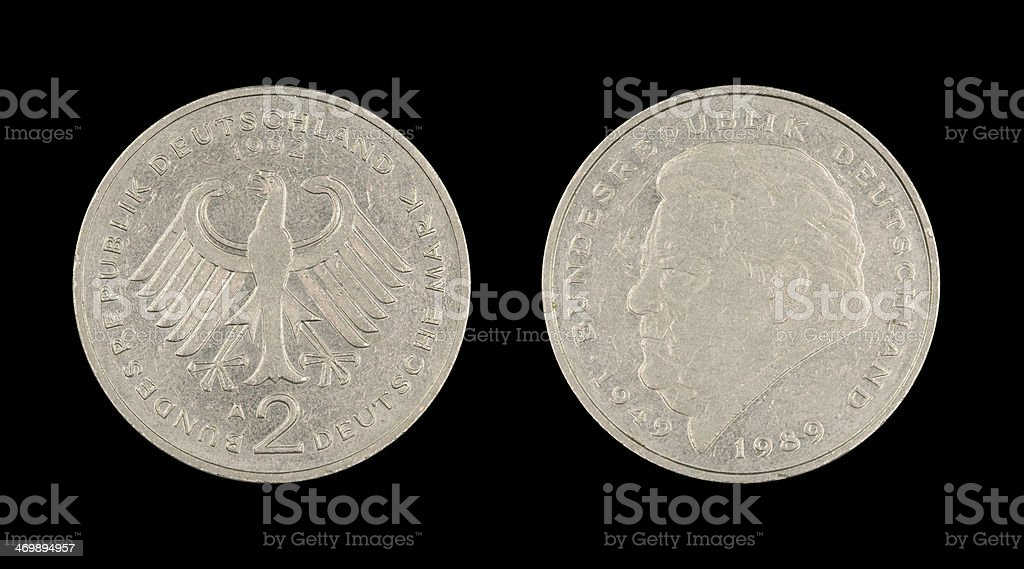 Two-Mark-Coin, Germany, 1992 stock photo