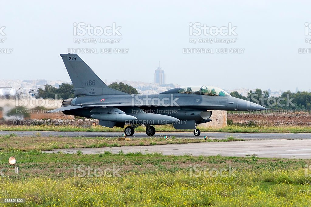 Two-seat trainer F-16 of the Italian Air Force stock photo