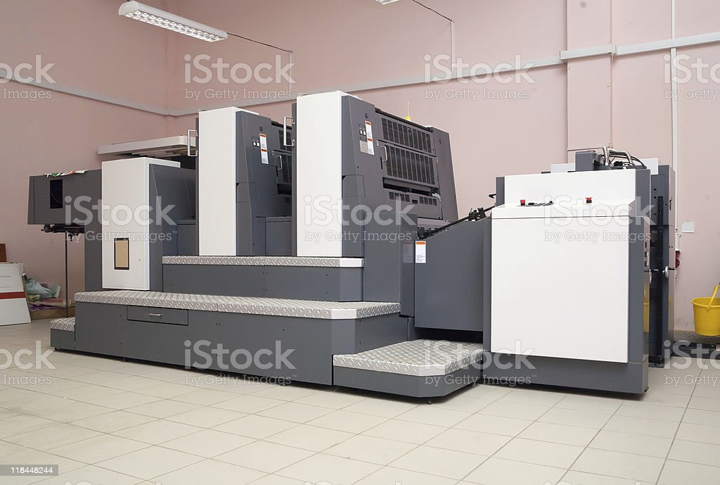 two-section offset printed machine stock photo