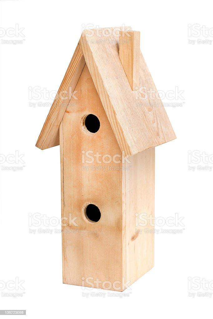 Two-storey wooden birdhouse isolated on white background royalty-free stock photo