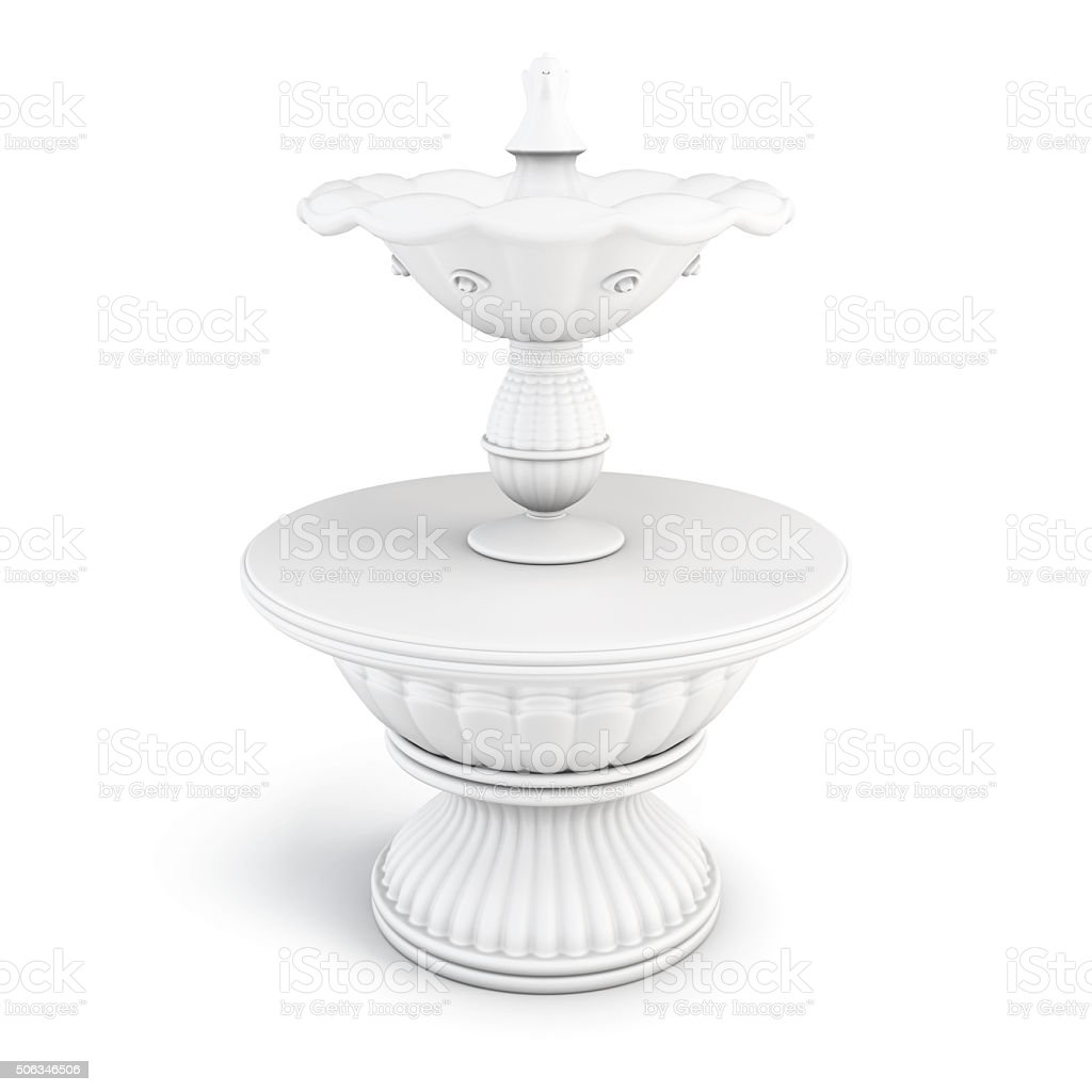 Two-tiered fountain on a white background. 3D render image vector art illustration