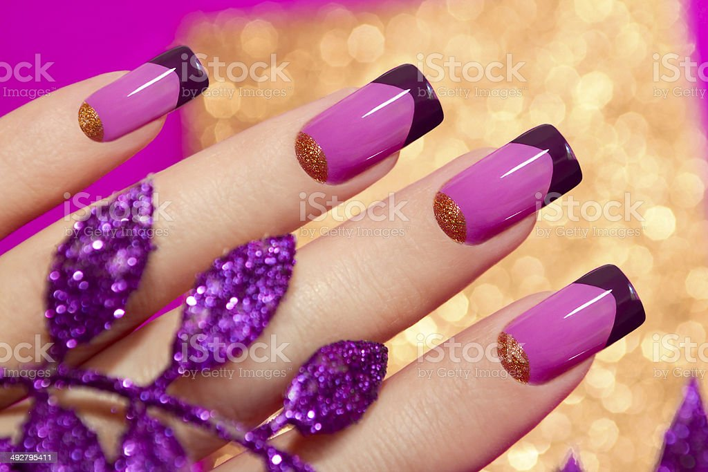 Two-tone French manicure. stock photo