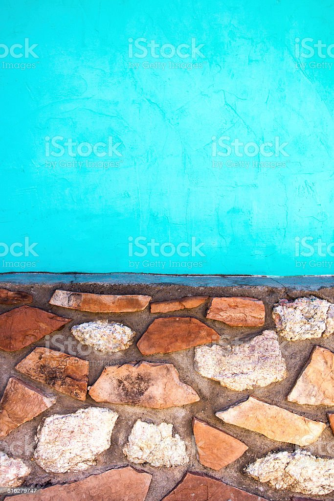 Two-Toned Wall: Stone and Turquoise stock photo
