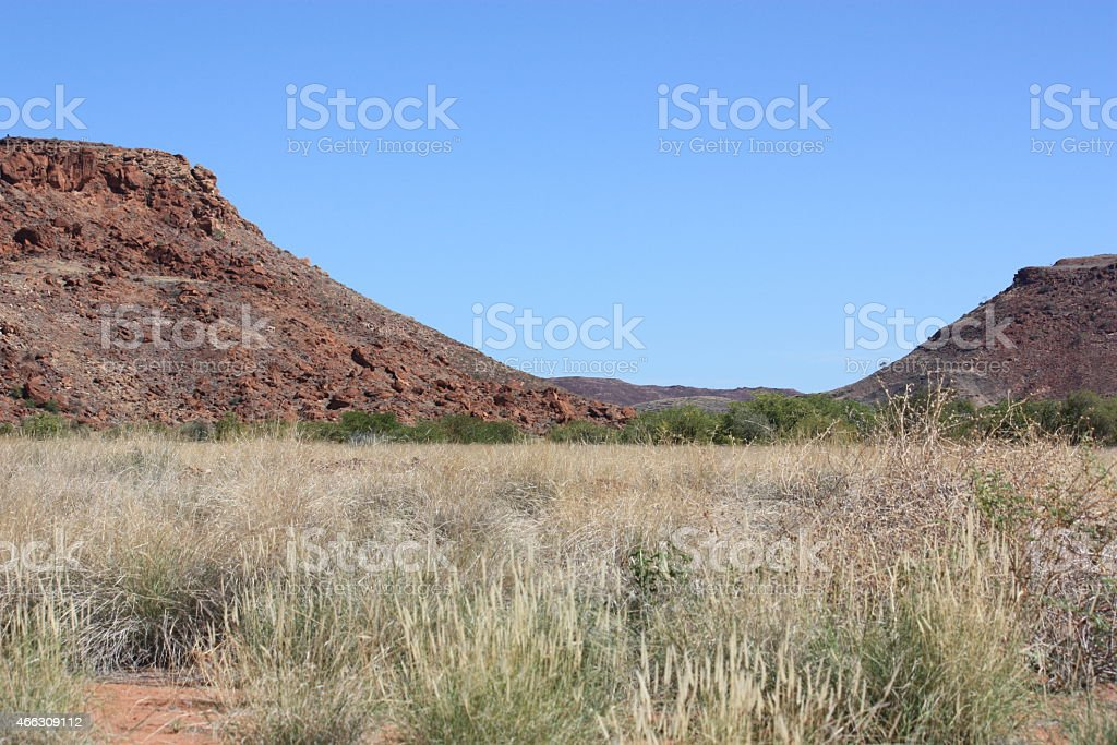 Twyfelfontein Visitors Centre under blue sky, Namibia stock photo
