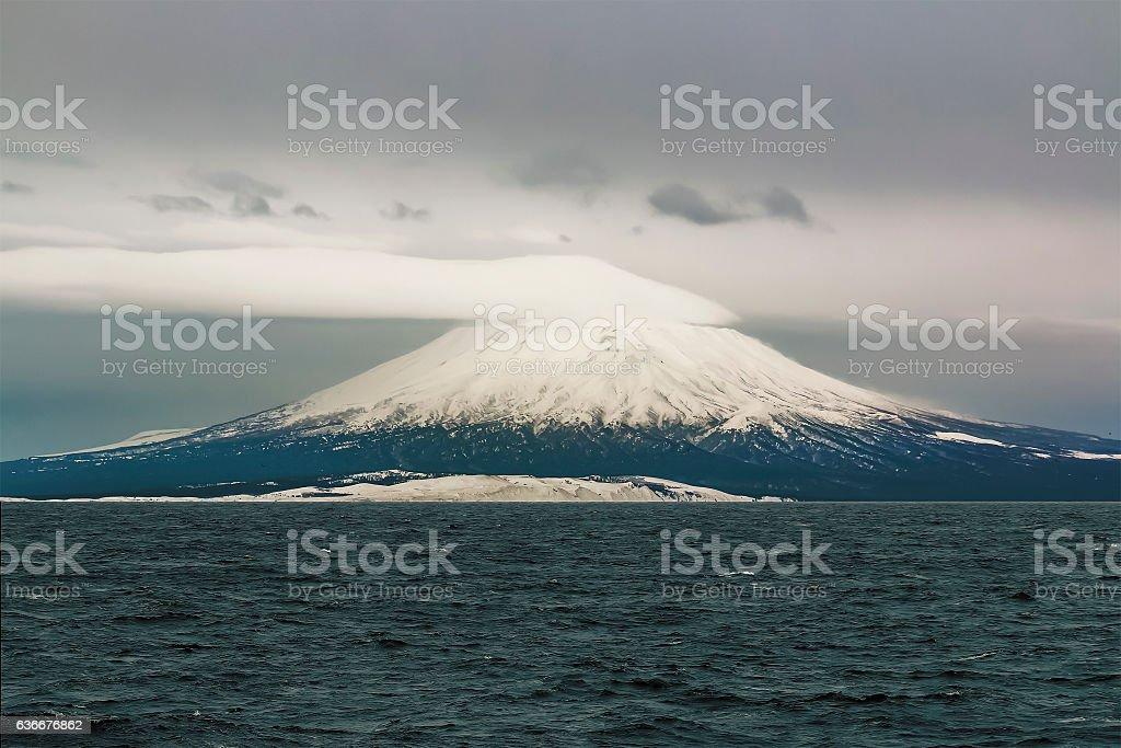 Tyatya volcano on Kunashir Island Kuril stock photo