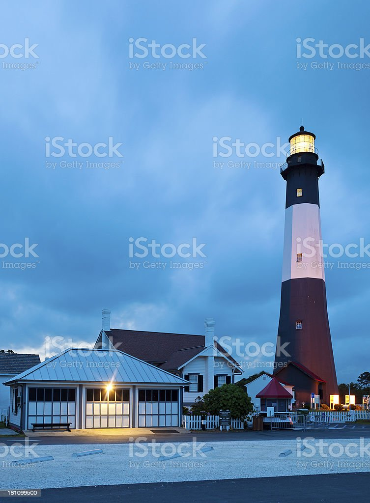 Tybee Island Lighthouse At Night royalty-free stock photo