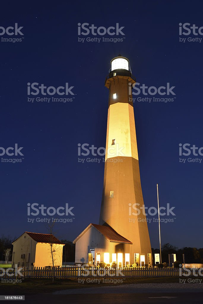 Tybee Island Lighthouse at Night royalty-free stock photo