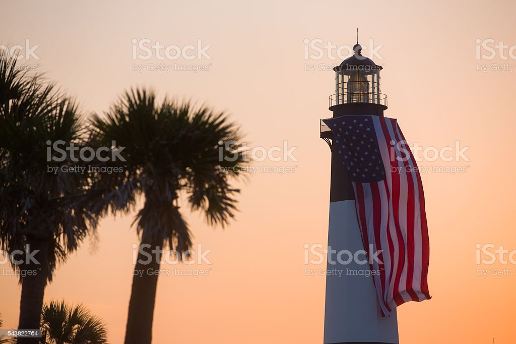 Tybee Island Lighthouse Sunset stock photo
