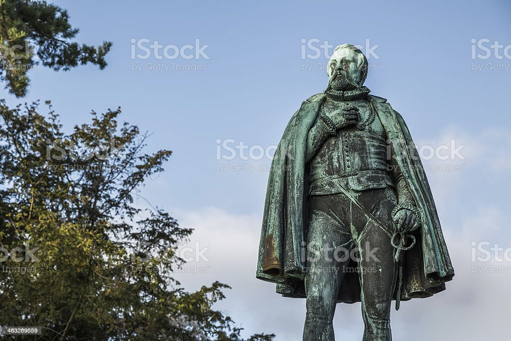 Tycho Brahe in front of Copenhagen University Astronomical Opbservatory. stock photo